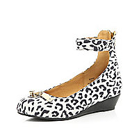Girls white leopard print wedge shoes