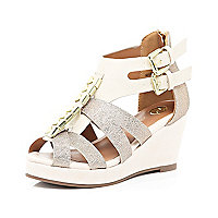 Girls gold glitter strappy wedges