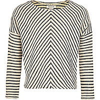 Girls navy stripe knit jumper
