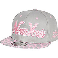 Girls grey New York aztec snapback hat