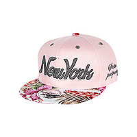 Girls pink floral New York snapback hat