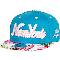 Girls blue New York floral snapback hat