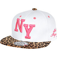 Girls white New York leopard snapback hat