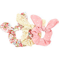Girls pink floral scunchie 3 pack