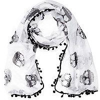 Girls white aztec skull pompom scarf