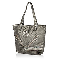 Girls silver washed PU shopper bag