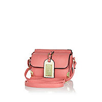 Girls pink luggage tag crossbody bag