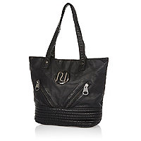 Girls black washed PU shopper bag