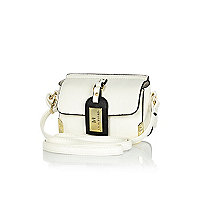 Girls white luggage tag crossbody bag