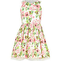 Girls cream floral prom dress