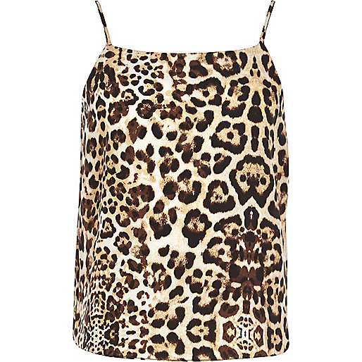 Girls brown leopard print cami vest