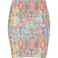 Girls orange aztec geo print mini tube skirt