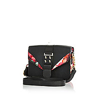 Girls black floral block crossbody bag
