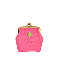Girls neon pink coin purse