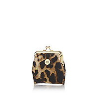 Girls brown leopard print coin purse