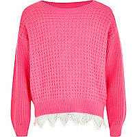 Girls pink crochet border jumper