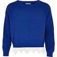 Girls blue crochet border jumper