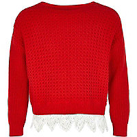 Girls red crochet border jumper