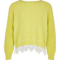 Girls lime green crochet border jumper