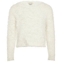 Girls white fluffy jumper