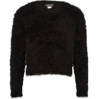 Girls black fluffy jumper