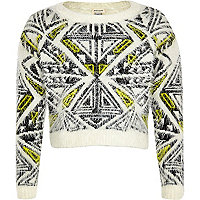 Girls white aztec fluffy crop jumper