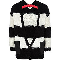 Girls black stripe fluffy cardigan