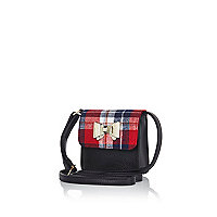Girls black tartan crossbody bag