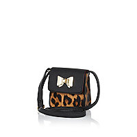 Girls brown leopard print crossbody bag
