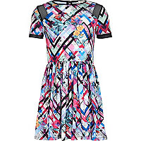 Girls pink geo print dress