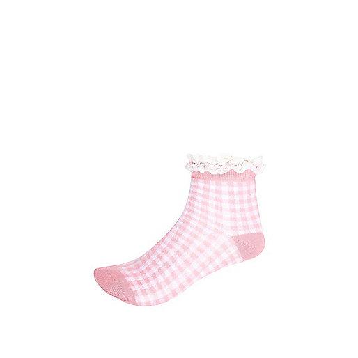 Girls pink check lace frill socks