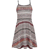 Girls aztec print fit and flare strappy dress