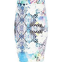 Girls blue zebra print tube skirt