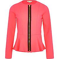 Girls coral peplum blazer