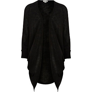 Girls black midi length draped cardigan