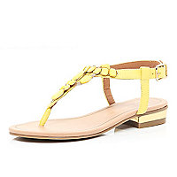 Girls yellow gem Y bar sandals