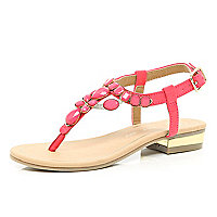 Girls pink gem Y bar sandals