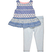 Mini girls blue peplum top and leggings set