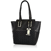 Girls black quilted shopper bag