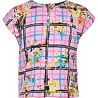 Girls pink check and floral box top