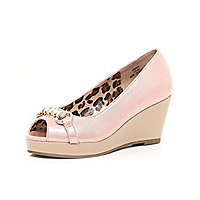 Girls pink peep toe wedge sandals
