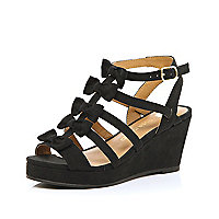 Girls black bow wedge sandals