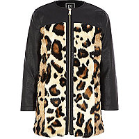 Girls black PU leopard print coat