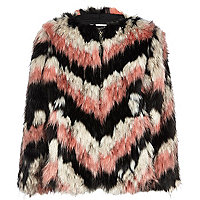 Girls pink stripe faux fur coat