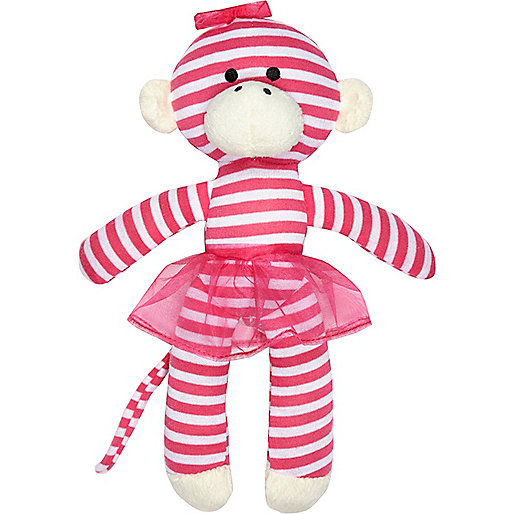 Mini girls pink stripe monkey