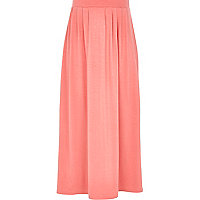 Girls pink jersey maxi skirt