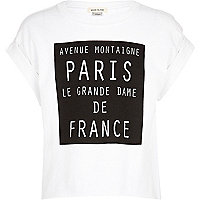 Girls white Paris print t-shirt
