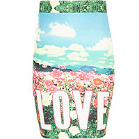Girls blue love meadow print tube skirt