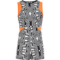 Girls black print orange panel playsuit