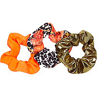 Girls orange leopard print scrunchie 3 pack
